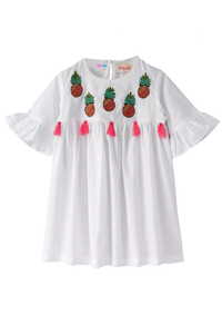 Pineapple Embroidery Dress With Tassels