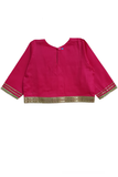 Magenta gota work choli and white lehenga