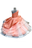 Peach layered gown with 3D pearl flowers