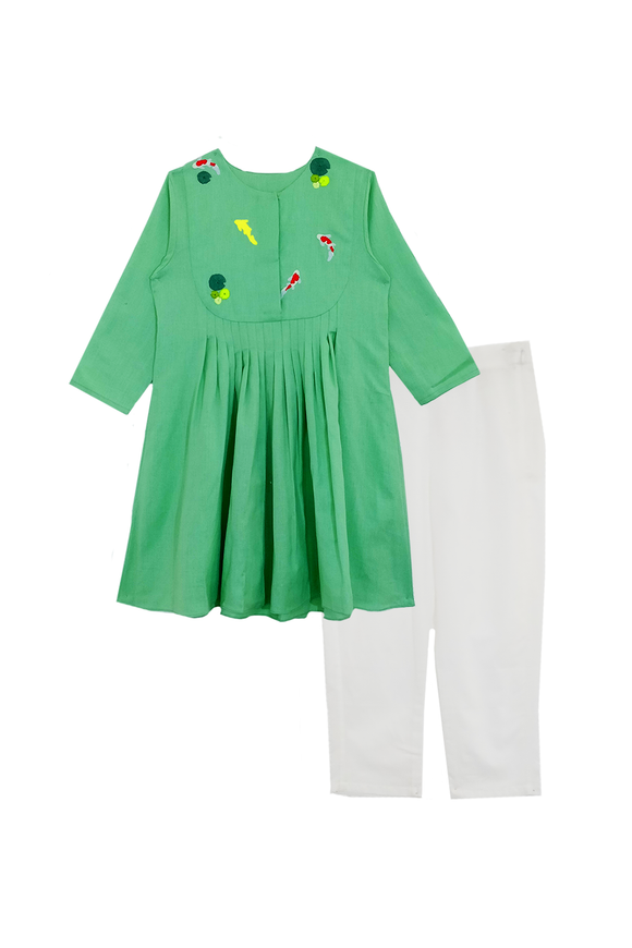 Mint green fish pond kurta and pants