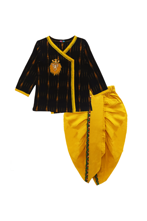 Hand embroidered lion dhoti kurta set