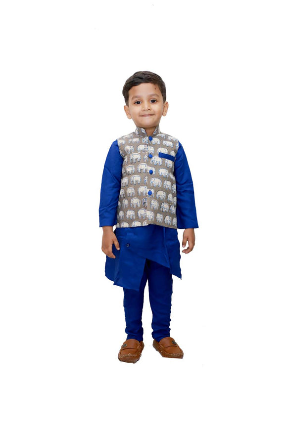 Asymmetric blue kurta with churidar and elephant print jacket