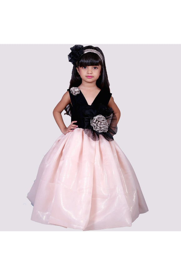 Black and peach gold flower applique gown! Partywear gowns for girls, designer gown for girls, Tutu gowns for girls, designer western gowns
