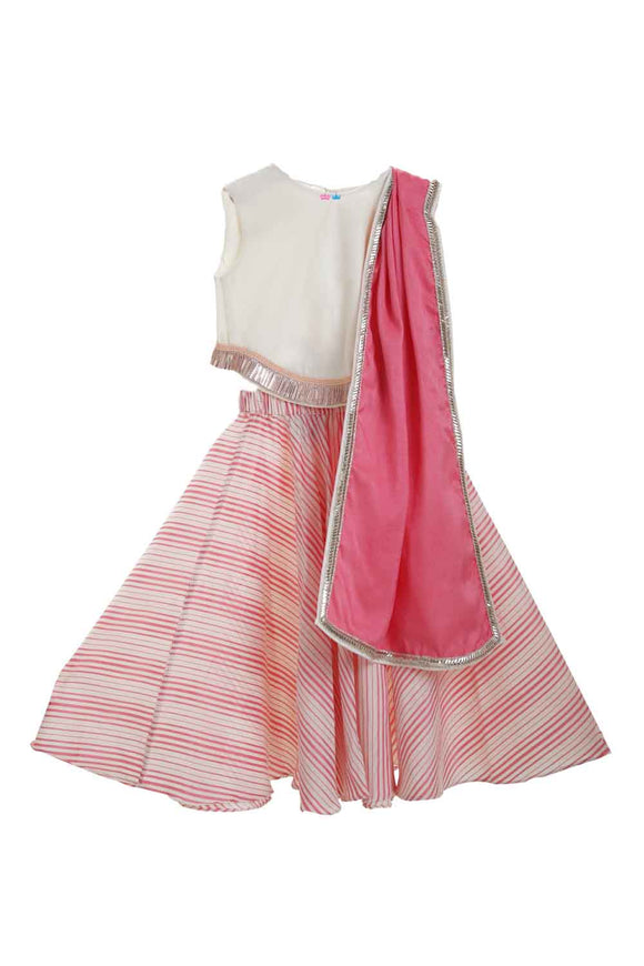 Off white bird back choli and pink stripes lehenga