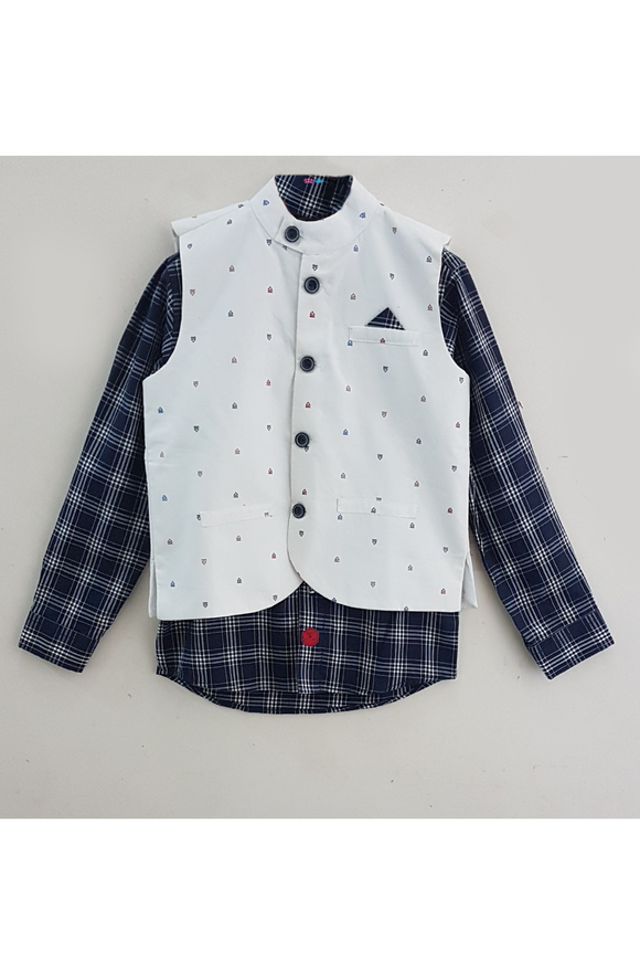 Blue check shirt with white embroidered jacket