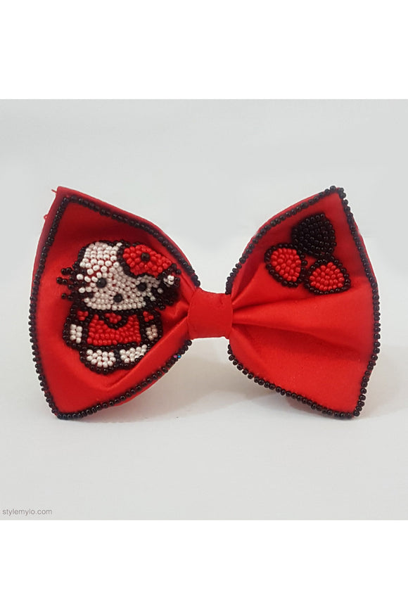 Red beaded bow clip! designer Hair Accessories, designer Hair Clips, designer Hair Bands, Hair Accessories for girls