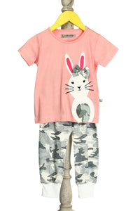 Organic Pink Bunny Appliqué Top With Camouflage Print Lounge Pants For Baby Girls