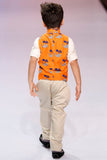 Dolphin Print Nehru Jacket with Shirt and Pant