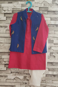 Pink kurta with zardozi tia jacket and churidar