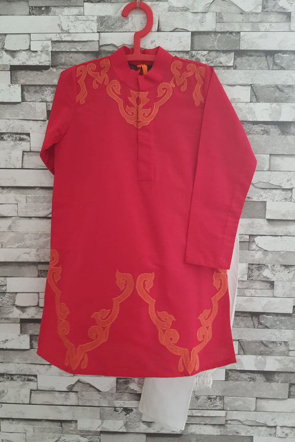 Tomato applique kurta with churidar
