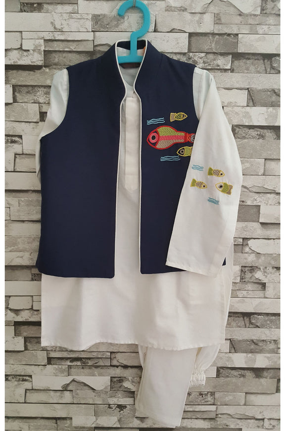 White kurta with multi fish jacket and churidar