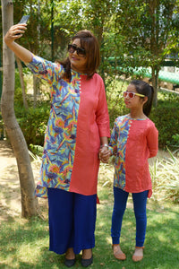 Multi bird print kurta for mother and daughter