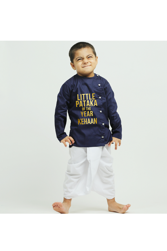 Little pataka dark blue kurta with dhoti