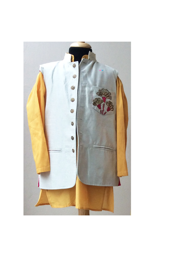 Off white raw silk/yellow Nehru jacket and kurta