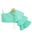 Mint green one shoulder ruffled crop top with skirt