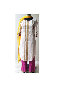 Off white raw silk/yellow kurta