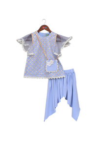 Light blue bootie net kurti with dhoti and matching sling