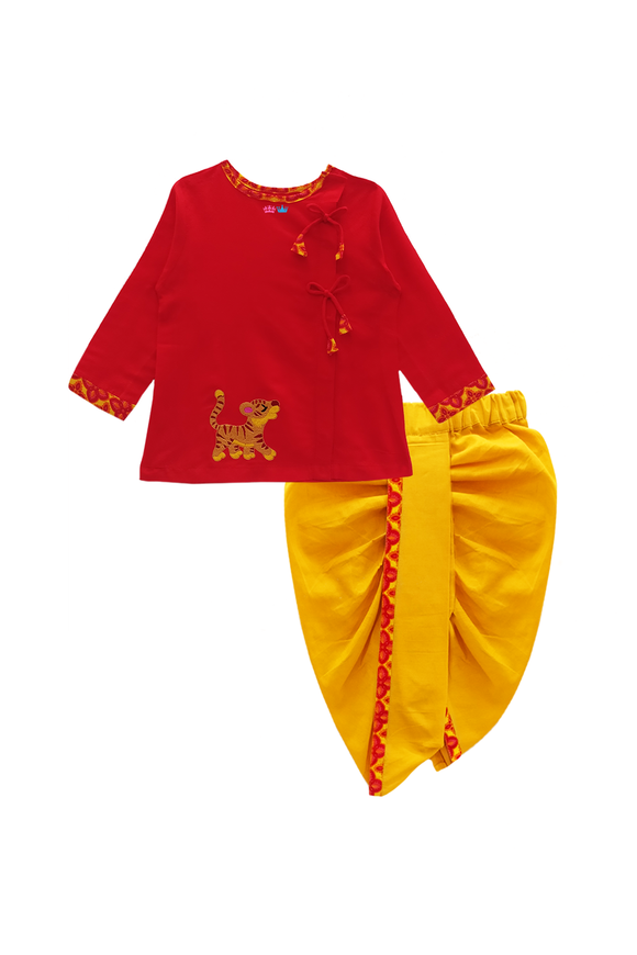 Hand embroidered lion cub dhoti kurta set