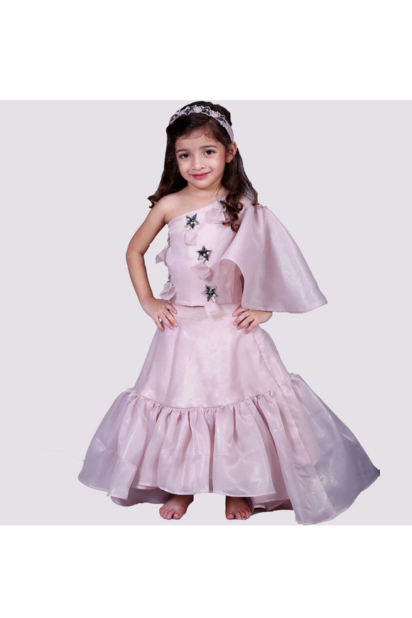 Pink crop top with frill high low skirt! Get the Best Designer Lehenga Sets for Baby Girls, Designer Choli Ghagra Sets for Baby Girls, Designer Lehenga Choli Sets for Girls, Designer Lehenga Choli for kids, Lehenga for Girls, Ghagra for Girls, Ethnic wear for Girls, Indian Wear for Girls, Designer Ghagra for Kids