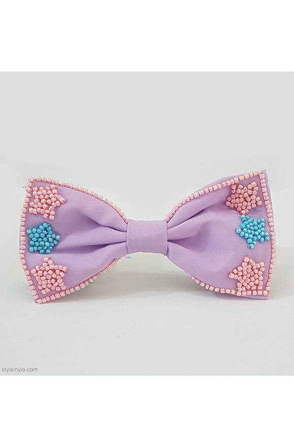 Lavender star beaded bow clip! designer Hair Accessories, designer Hair Clips, designer Hair Bands, Hair Accessories for girls