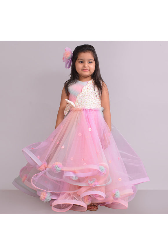 Unicorn pom pom gown! Partywear gowns for girls, designer gown for girls, Tutu gowns for girls, designer western gowns