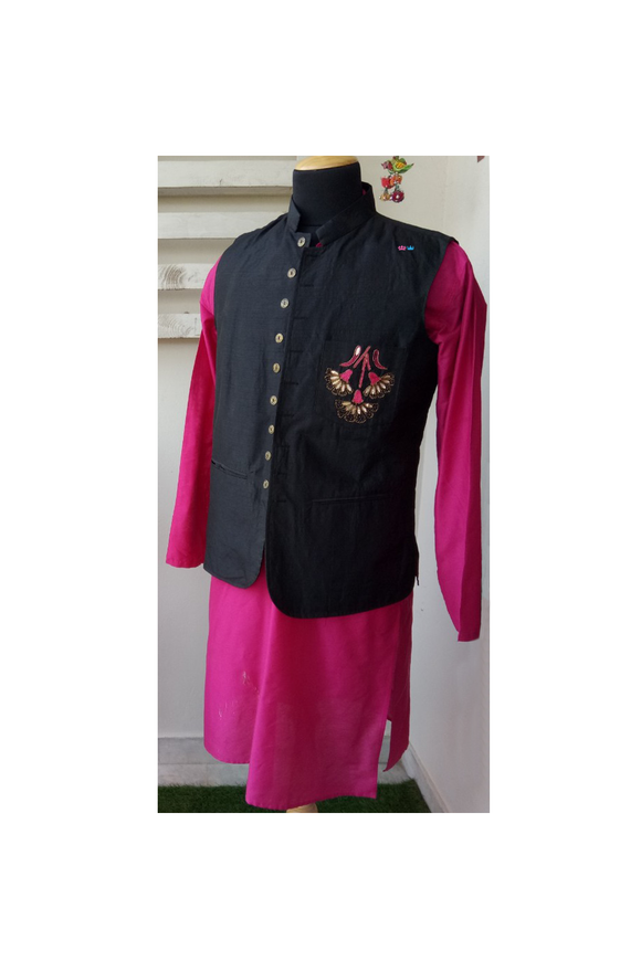 Black raw silk/pink embroidered Nehru jacket and kurta