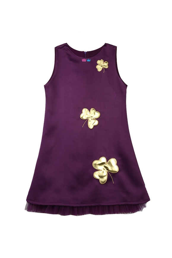Purple A-line dress with handcrafted shamrock in golden leather