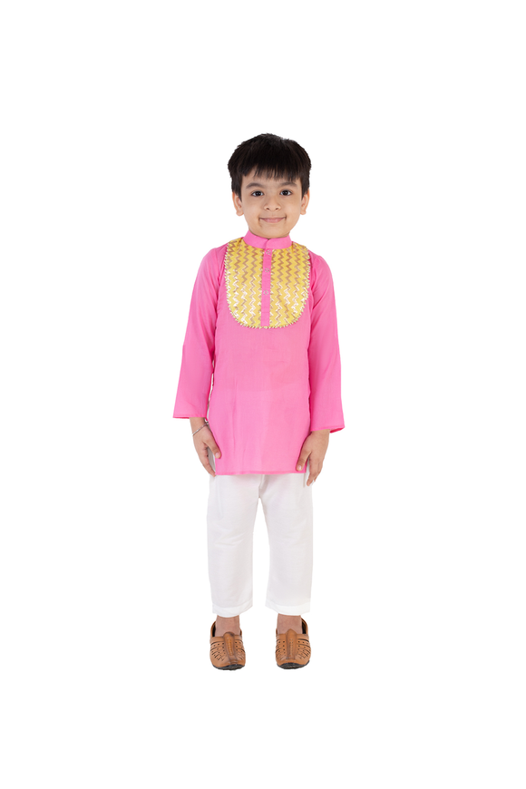 Pink cotton kurta with white pyjama