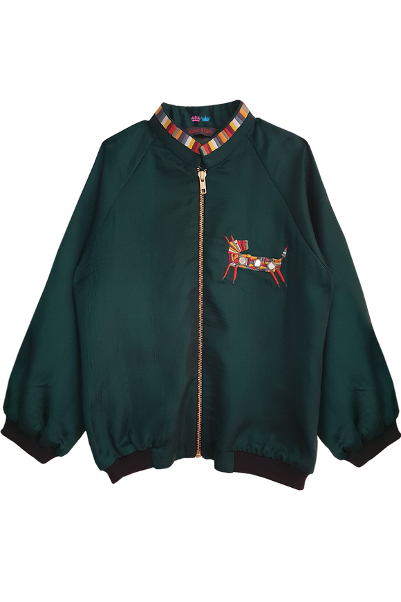 Green bomber jacket for winters