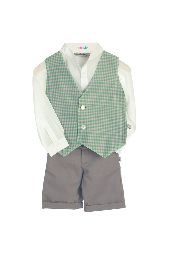 Organic Mint waistcoat with Matching Shirt and Bermuda
