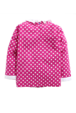 Dark pink polka sleepwear with lace collar