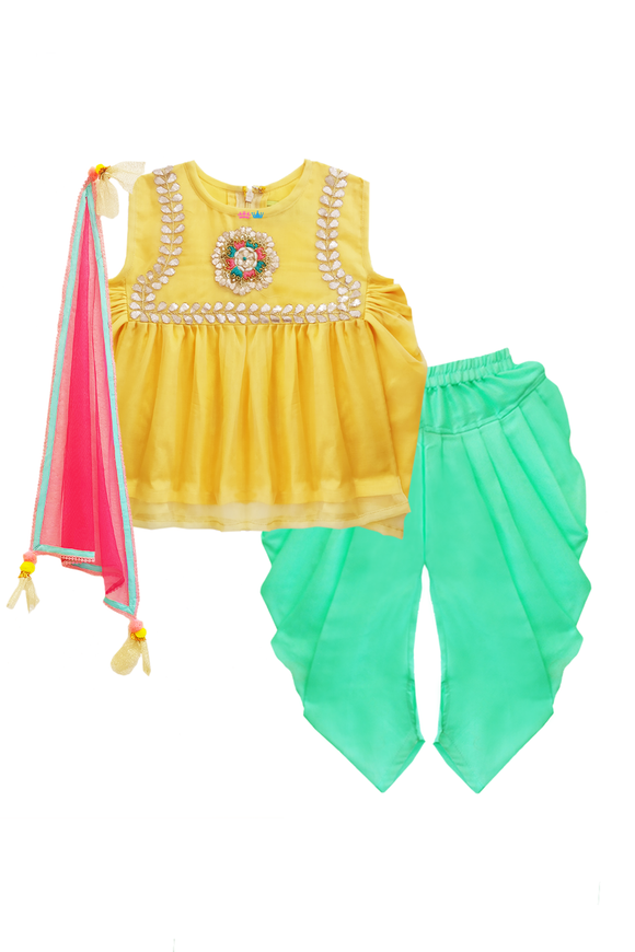Green dhoti pants with yellow kurta