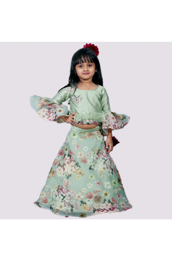 Green floral crop top and ghagra! Get the Best Designer Lehenga Sets for Baby Girls, Designer Choli Ghagra Sets for Baby Girls, Designer Lehenga Choli Sets for Girls, Designer Lehenga Choli for kids, Lehenga for Girls, Ghagra for Girls, Ethnic wear for Girls, Indian Wear for Girls, Designer Ghagra for Kids