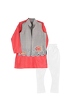 Save Our Seas Bandhgala with Kurta-Salmon/Grey