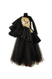 Black Triple Layered Sleeves Mirror High Low Peplum Corset with Long Tutu Skirt
