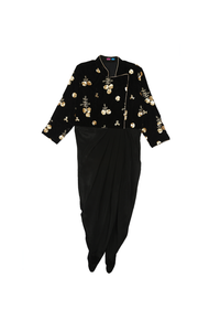 Black velvet drape dress