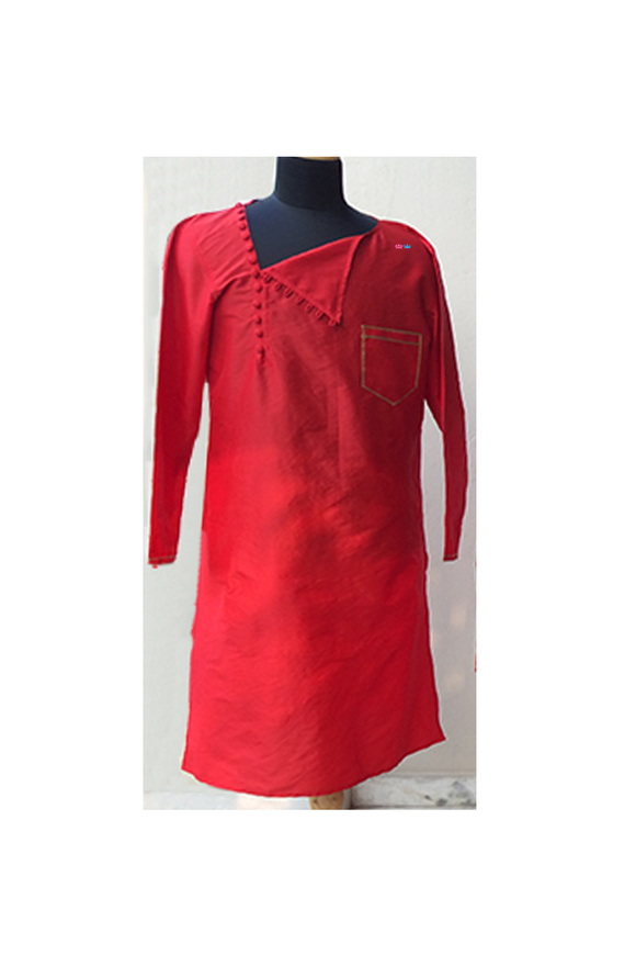 Red/pink embroidered kurta