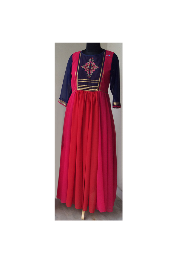 Red/pink embroidered dress