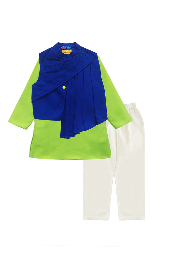 Green Kurta With Up And Down Jacket And Churidar