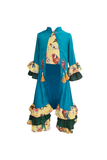 Bird Dhoti Set with One Button Jacket