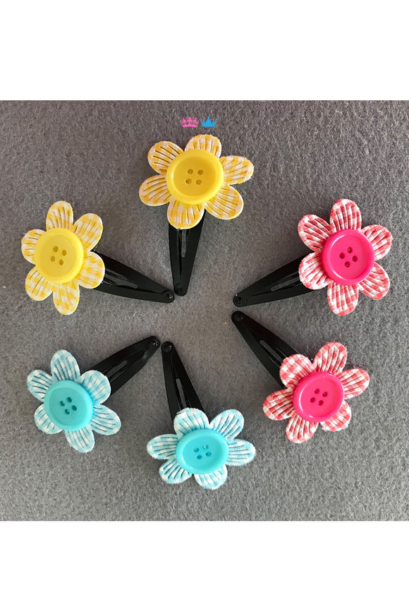 Colourful florets theme hair clips
