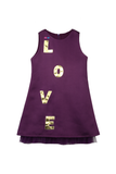 Purple A-line dress with handcrafted LOVE applique in golden leather