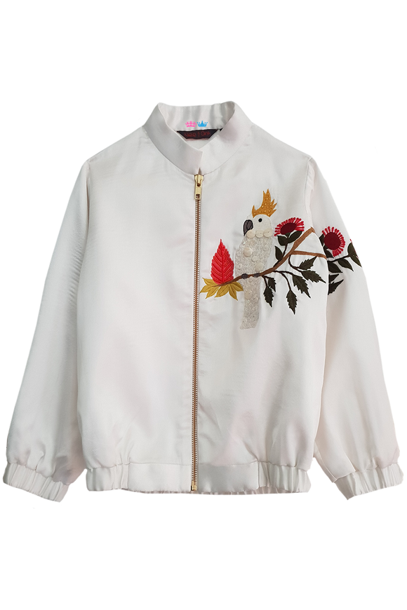 White cocktoo satin jacket