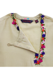 Beige floral embroidered kurta and tomato red pyjama