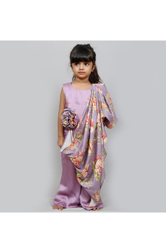 Flower applique jumpsuit with one side cape