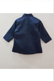 Navy blue duck motif jacket style kurta and pyjama