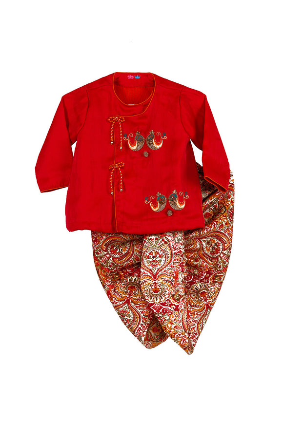 Red Twin Birds Angrakha With Printed Dhoti