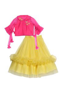 Organza ruffles skirt and crop top
