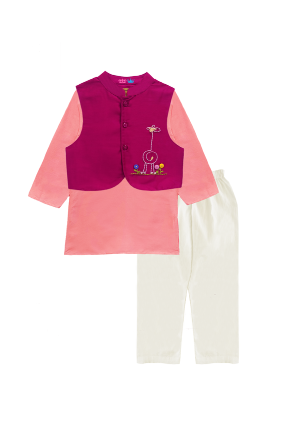Pink jacket with kurta and churidar