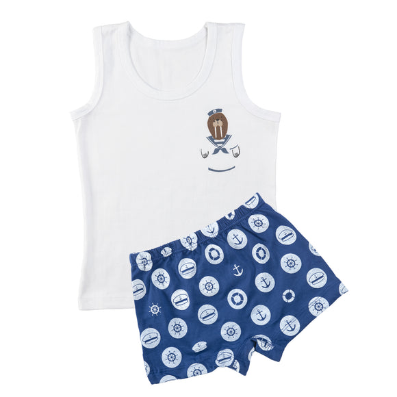 Boys maritime mayhem vest and boxer set